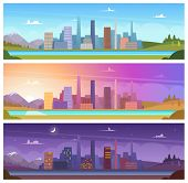 Different Day Time. Night Morning Night Day Outdoor City Landscape Vector Cartoon Backgrounds. Night poster