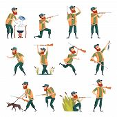 Hunters. Sniper Outdoor Human With Weapons Duck Hunting In Action Poses Vector Characters. Huntsman  poster