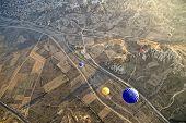 Hot Air Ballons Flying On The Sky Of Cappadocia.