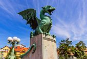 Ljubljana, Slovenia. Famous Dragon Bridge (zmajski Most), Symbol Of Ljubljana. poster
