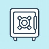Blue Line Safe Icon Isolated On Blue Background. The Door Safe A Bank Vault With A Combination Lock. poster