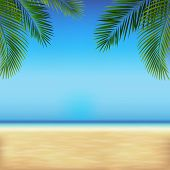 Tropical Beach With Sea And Sand With Tropical Leaves poster