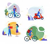 Food, Groceries, Goods Delivery Services Flat Set. Cartoon Man Courier Character Ride Bicycle Or Mop poster