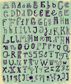 stock photo of symbol punctuation  - Whimsical Hand Drawn Alphabet Letters - JPG