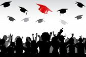 illustration of graduates tossing mortar board in air