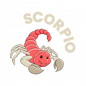 Illustration of Colorful Cartoon of Scorpio Zodiac Sign isolated on a white background poster