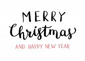 Christmas Hand Drawn Lettering. Xmas Calligraphy On White Background. Christmas Black And Red Letter poster