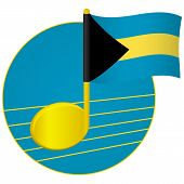 Bahamas Flag And Musical Note. Music Background. National Flag Of Bahamas And Music Festival Concept poster