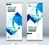 Blue Business Roll Up Banner. Abstract Roll Up Background For Presentation. Vertical Roll Up, X-stan poster
