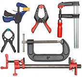Various bar clamps in set. Tools can be used in carpentry, woodworking or other crafts. poster