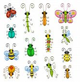 stock photo of gnats  - Some cartoon insects  - JPG