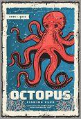 Red Octopus, Underwater Animal. Vector Animal With Tentacles, Sea Monster And Evil Kraken. Ocean Mol poster
