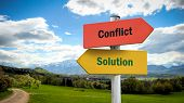 Street Sign Solution Versus Conflict poster