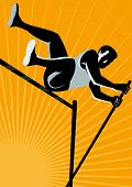 picture of pole-vault  - Illustration of a track and field athlete pole vault high jump jumping done in retro woodcut style - JPG