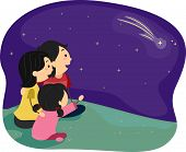 stock photo of shooting star  - Illustration of a Family Stargazing - JPG