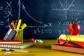 Mathematic Classroom At School. Math Formulas Drawn At Chalkboard. School Supplies: Physics Books, P poster