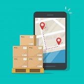 Freight Or Cargo Delivery Tracking Or Navigation Route On Mobile Phone Vector Illustration, Flat Car poster