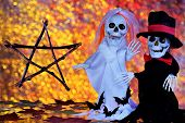 Ghosts Skeletons, Pentagram-happy Halloween Holiday Evil Spirits. Halloween Autumn Main Holiday Of E poster