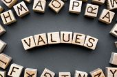 Word Values Composed Of Wooden Cubes With Letters, Core Values Are The Fundamental Beliefs Concept,  poster