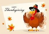 Happy Thanksgiving, Greeting Card, Poster Or Flyer For Holiday. Thanksgiving Turkey Cartoon Characte poster