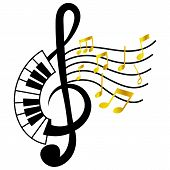 Treble Clef With Piano Board And Gold Music Note Movement poster