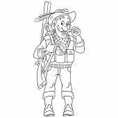 Colouring Page. Cute Cartoon Hunter Or Forester With A Rifle Gun. Childish Design For Kids Coloring  poster