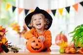 Child In Halloween Costume. Kids Trick Or Treat. poster