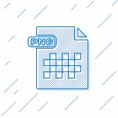 Blue Line Png File Document. Download Png Button Icon Isolated On White Background. Png File Symbol. poster