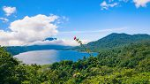 Beautiful View Of Danau Buyan Lake, Popular Tourist Place - Bedugul Village In Tropical Mountain Rai poster