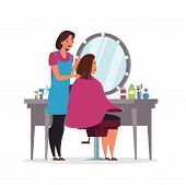 Hairdressing, Beauty Salon Flat Illustration. Professional Hairdresser In Apron And Client In Chair  poster
