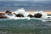 Storm beside the rock
