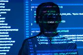 Cyber Security Software Developer With Glasses On Guard Of Internet And Web Data From Spam, Malware, poster