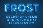 Neon Light 3d Alphabet, Extra Glowing Font. poster