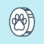 Blue Line Paw Print Icon Isolated On Blue Background. Dog Or Cat Paw Print. Animal Track. Vector Ill poster