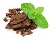 stock photo of mints  - Mix chocolate and mint close up on white - JPG