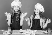 Kids Baking Cookies Together. Kids Aprons And Chef Hats Cooking. Family Recipe. Culinary Education.  poster