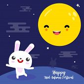 Happy Mid Autumn Festival Card With Rabbit And The Moon. Cute Cartoon Bunny With The Moon. Bunny Car poster