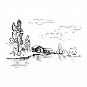 Landscape Sketch. Hand Drawn Landscape With Village House, Lake And Trees. Sketch Style Vector Illus poster