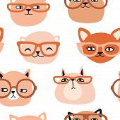 Funny Cats With Glasses Seamless Pattern. Pet Vector Illustration. Cartoon Doodle Animals Background poster