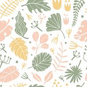 Tropical Flowers And Leaves Seamless Pattern. Vector Illustration With Hand Drawn Flowers, Palm Leav poster
