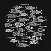 School Of Fish. A Group Of Stylized Fish Swimming In A Circle. Black And White Fish For Children Wit poster