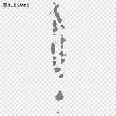 High Quality Map Of Maldives With Borders Of The Regions poster