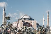 Famous Museum Hagia Sophia In Istanbul, Turkey. One Of The Main Sights In Istanbul City Center On Th poster