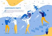 Corporate Party For Company Business Employees. Group People Celebrate Signing Lucrative Contract. E poster