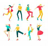 Banner Collection Dancing People Cartoon Flat. Set Energetic Boys And Girls Are Having Fun Dancing.  poster