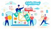 E-mail Phishing, Money Fraud In Internet, Spyware Software Or Application Flat Vector Concept With R poster