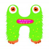 Funny Furry Monster Letter H, English Alphabet Vector Element Isolated On A White Background poster