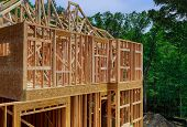 New Property Development Framing Beam Of New House Under Construction Home Beam Construction poster