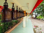 A Row Of Bells In Buddhist's Temple