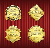 Mark Or Medal With Ribbon, High Quality, Best Choice. Guarantee Golden Sticker With Stars And Crown  poster